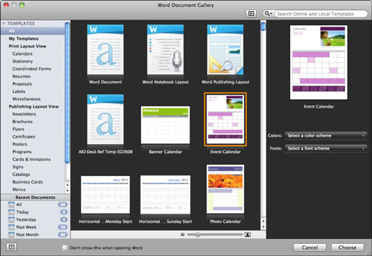 Office 2011 for Mac Open the Word Document Gallery - dummies