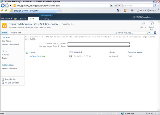 Create a Template from an Existing SharePoint 2010 Team Site - dummies