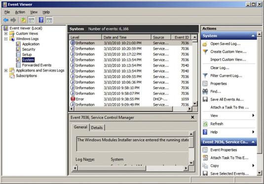 Network Administration Windows Server 2008 Event Viewer - dummies