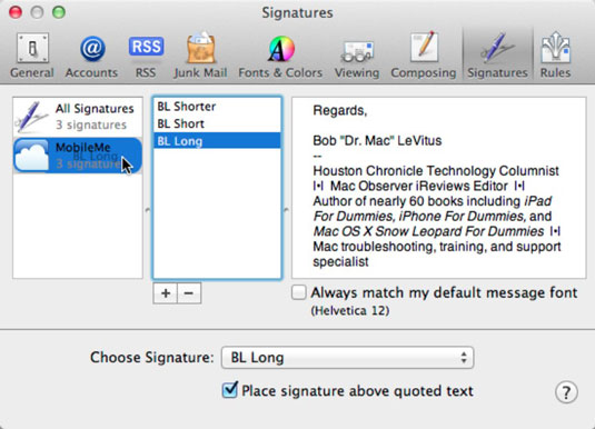 How to Add Mail Signatures in Mac OS X Lion - dummies