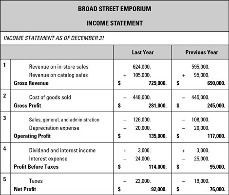 Sample Business Plan Income Statement - dummies - business profit and loss statement template