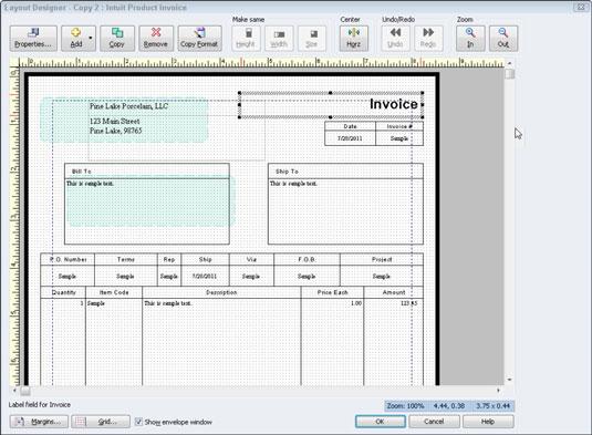 The QuickBooks 2012 Layout Designer Tool for Customizing Invoices