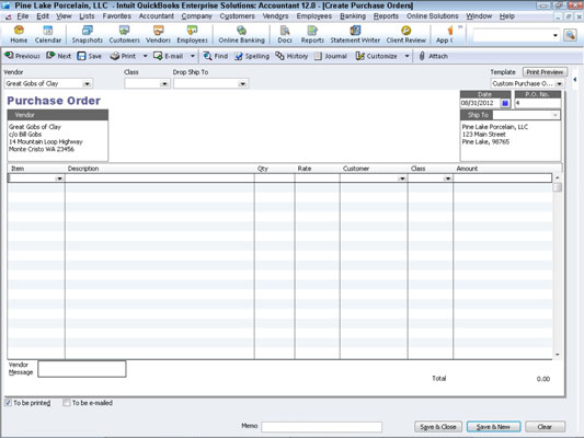 How to Create a Real Purchase Order in QuickBooks 2012 - dummies