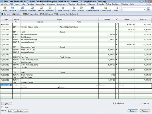 Record Register Transactions in QuickBooks 2012 - dummies