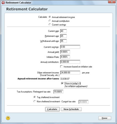The Quicken Retirement Calculator - dummies - retirement withdrawal calculator