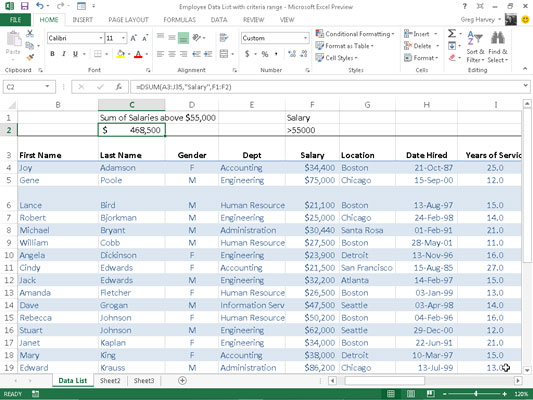 How to Use the Database Functions in Excel 2013 - dummies