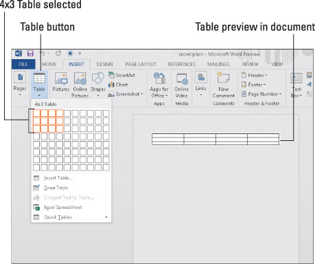 How to Create Tables in Word 2013 - dummies