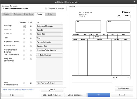 Choose a QuickBooks 2013 Invoice Template to Customize - dummies - how to print invoices