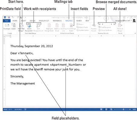 Create a Mail Merge Letter in Word 2013 - dummies