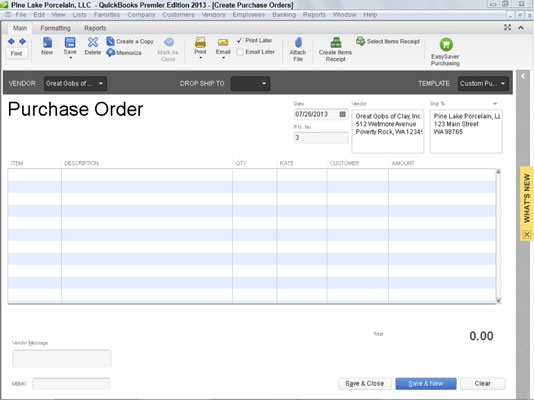 How to Create a Purchase Order in QuickBooks 2013 - dummies