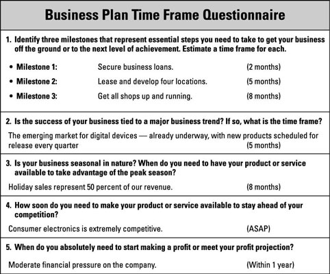 How to Establish a Business-Plan Time Frame - dummies