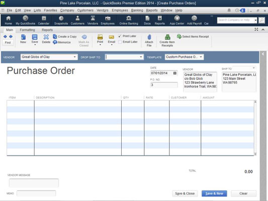 How to Create a Purchase Order in QuickBooks 2014 - dummies