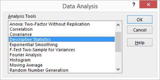 How to Use Excel\u0027s Descriptive Statistics Tool - dummies