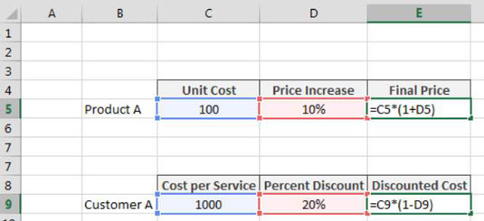Applying a Percent Increase or Decrease to Values in Excel - dummies