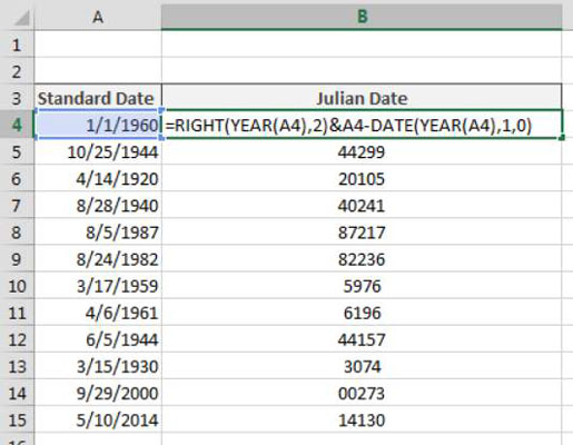 How to Convert Dates to Julian Formats in Excel - dummies