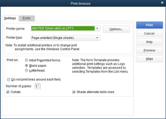 How to Print QuickBooks 2015 Invoices in a Batch - dummies - Invoice Print