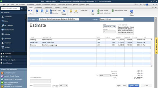 How to Turn a Job Estimate into an Invoice in QuickBooks 2015 - dummies