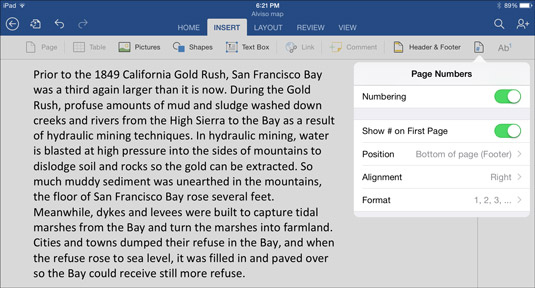 How to Lay Out a Word Document on the iPad - dummies - on word