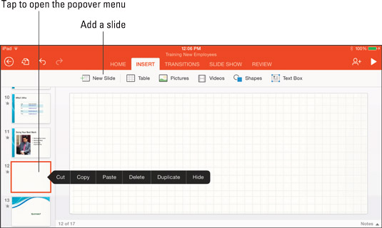 How to Add, Reorder, and Remove Slides in PowerPoint on an iPad