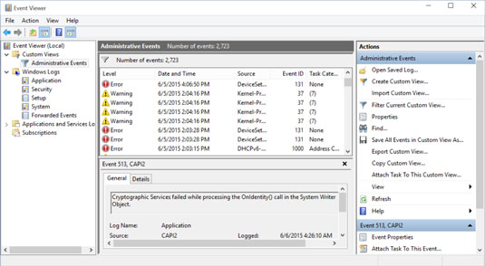 How to Use Event Viewer in Windows 10 - dummies