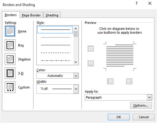 How to Use the Borders and Shading Dialog Box in Word 2016 - dummies