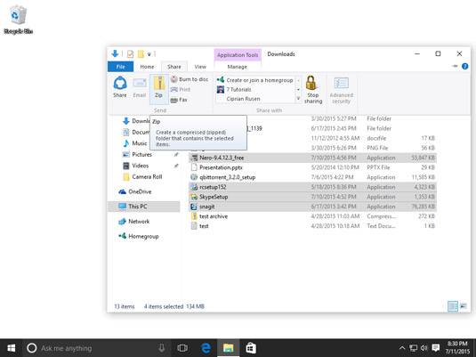How to Archive Files and Folders in a ZIP File in Windows 10 - dummies