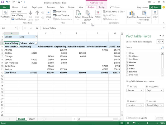 How to Filter Pivot Table Data in Excel 2016 - dummies - pivot table in excel