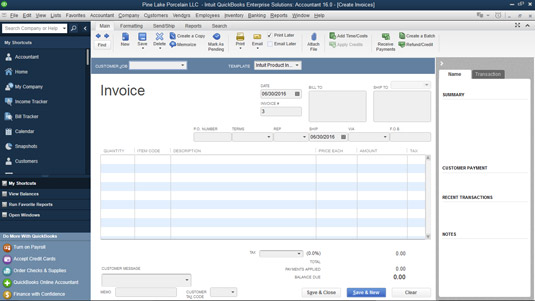 How to Prepare an Invoice in QuickBooks 2016 - dummies - creat an invoice