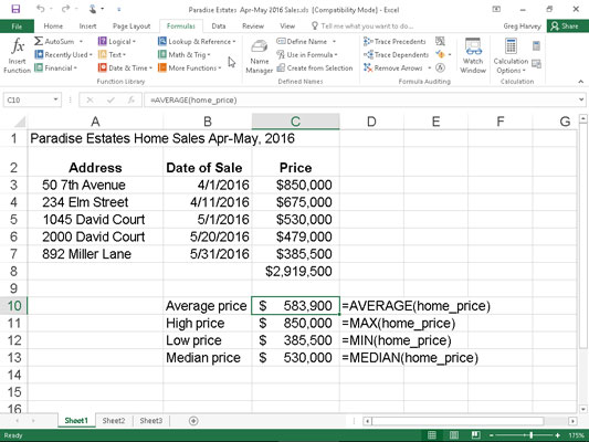 How to Use the AVERAGE, MAX, and MIN Functions in Excel 2016 - dummies