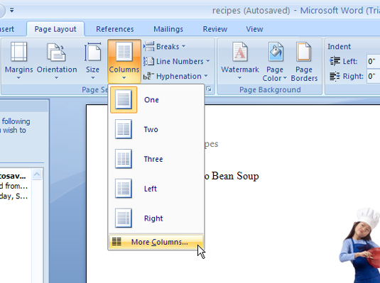 How to Remove Column Format in Word 2007 - dummies