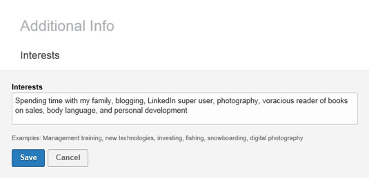 Adding Interests to Your LinkedIn Profile - dummies
