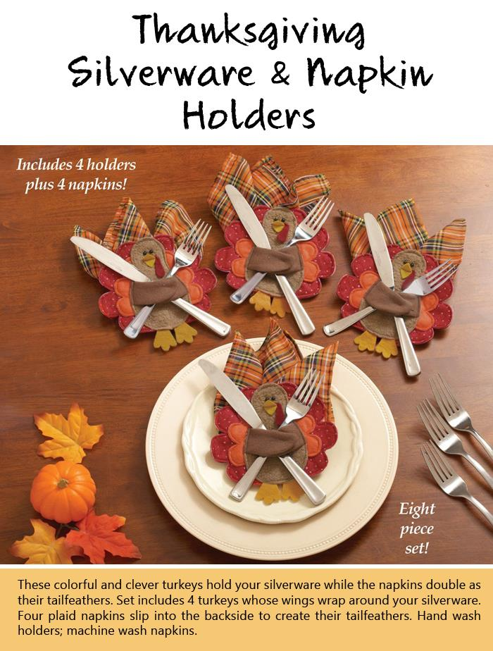 Thanksgiving Silverware and Napkin Holders