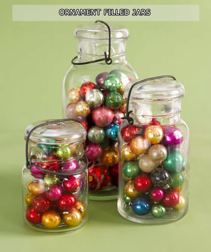 Ornament Filled Jars