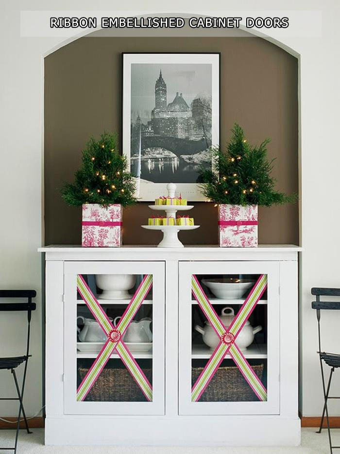 Ribbon Embellished Cabinet Doors