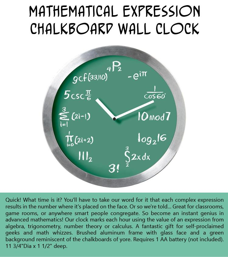 Mathematical Expression Chalkboard Wall Clock