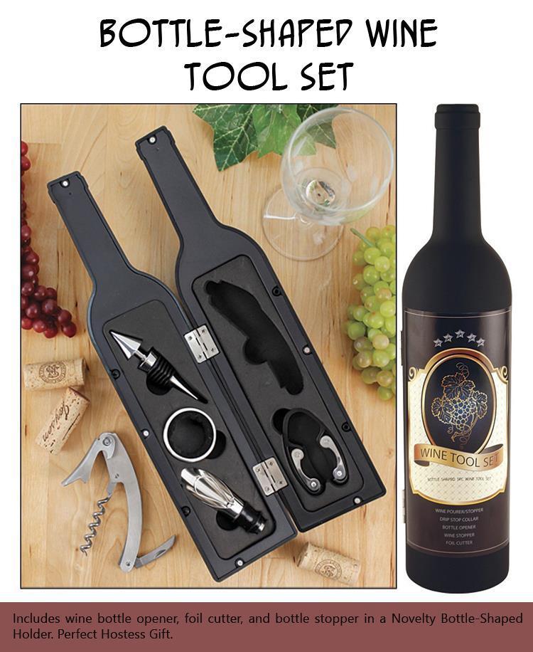 Bottle-Shaped Wine Tool Set