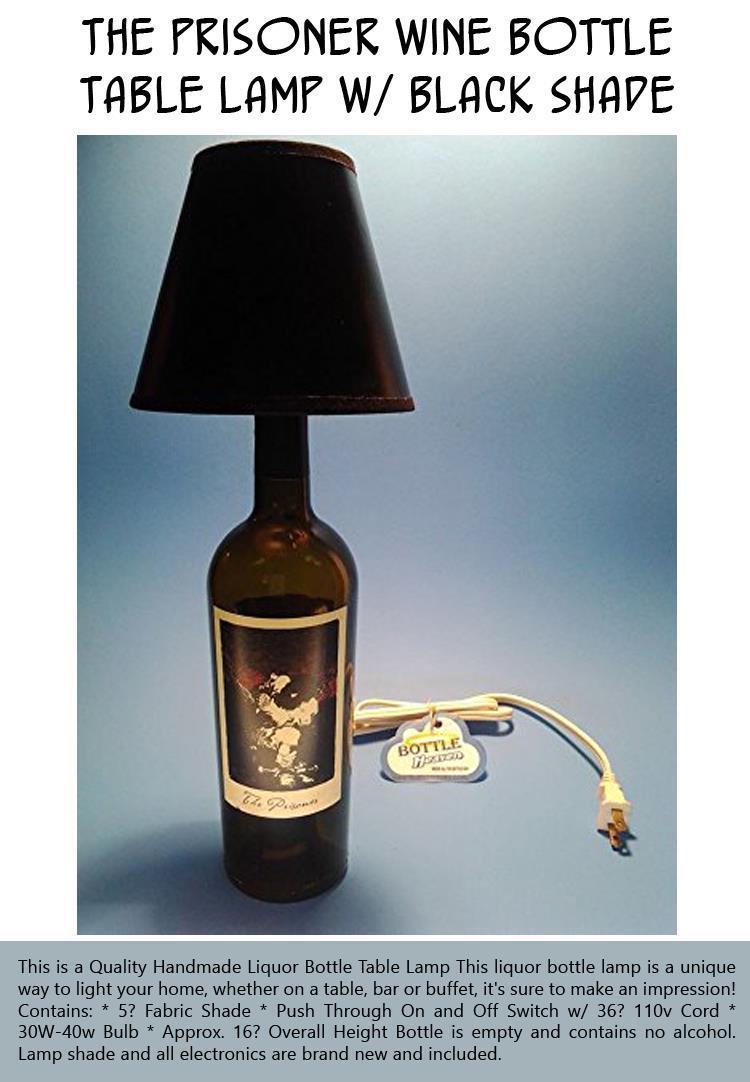 The Prisoner Wine Bottle Table Lamp W Black Shade