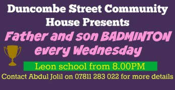 Father and Son Badminton – Sponsored By Duncombe Street Community House