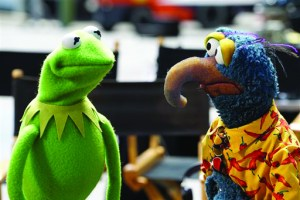"""In this image released by ABC, Kermit the Frog, left, and Gonzo the Great appear in a scene from """"The Muppets,"""" premiering Sept. 22. (Eric McCandless/ABC via AP)"""