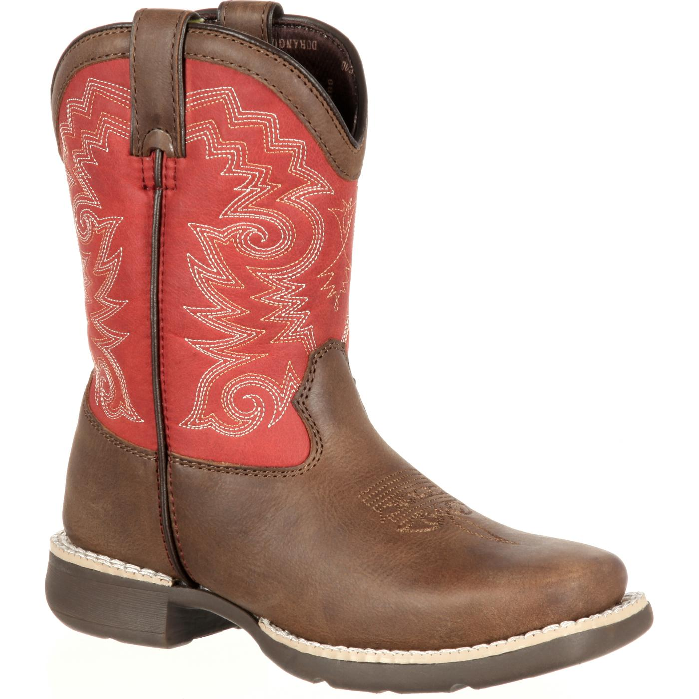Lil39 Durango Youth Brown Red Square Toe Western Boots