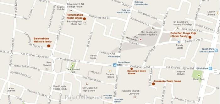 bonedi bari durga puja location map