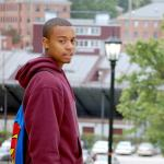 Destin Johnson walks through NCCU Campus where he is a freshman on Oct. 9.  (Staff photo by Carol Longoria)