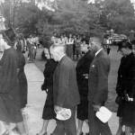 Mourners entering Shepard's funeral service in 1947. NCCU Archives/James E. Shepard Memorial Library