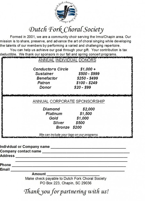Donate - Dutch Fork Choral Society - how to make a sponsor form