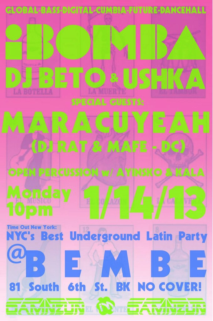 Maracuyeah guest djing at iBomba in Brooklyn on Monday, January 14th, 2012. Bembe- 81 South 6th St.