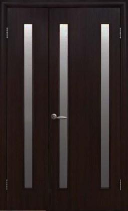 Двери Вера Новый Стиль венге 3D полуторная со стеклом