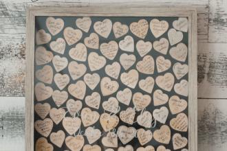 wooden heart wedding guestbook idea
