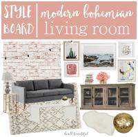 Modern Bohemian Living Room Mood Board - Dwell Beautiful