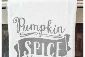 fall pumpkin spice latte tea towel
