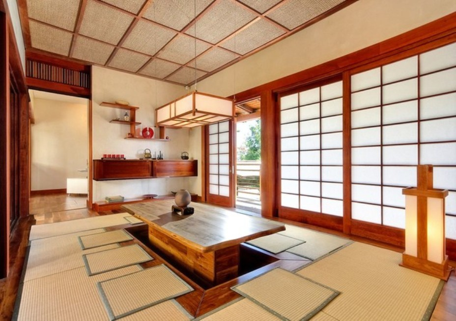 Dining room ideas with japanese style dining table and tatami mats